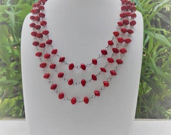 Stainless steel necklace triple strand seeds in the Church where réglise / tropical seeds / adjustable necklace