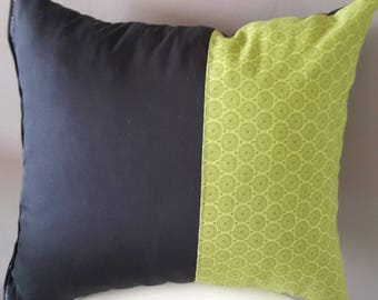 40x35cm pillow cover. black and green. geometric patterns