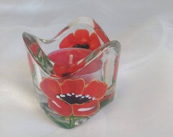 """""""POPPIES"""" PATTERN HAND PAINTED GLASS CANDLE HOLDER"""