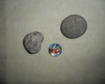 glass cabochon with colorful abstract geometric patterns, 25 mm round