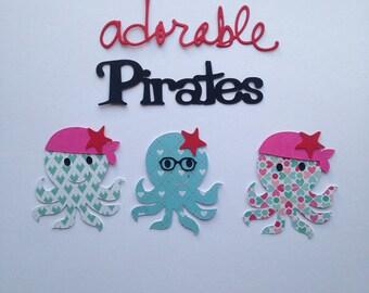Lot cuts Octopus pirate adorable scrapbooking embellishment die cut scrap album deco