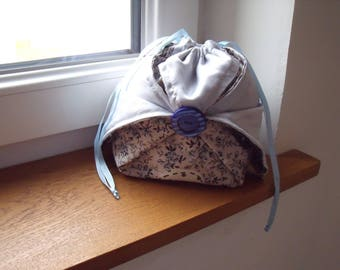 Blue and grey fabric purse