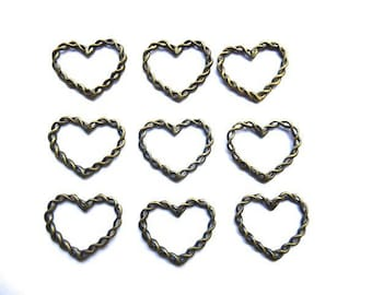 9 charms connector antique bronze heart braided 28 * 33 mm