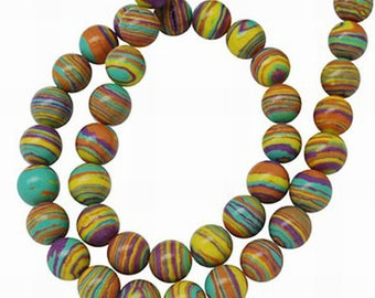 10 beads round natural fossil stones 10 mm hole: 1 mm