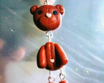 jointed Teddy bear pendant made of fimo