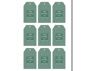 Gift tags green and white pattern, beveled rectangular tag, label graphic design