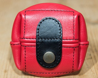 Red, large leather purse model
