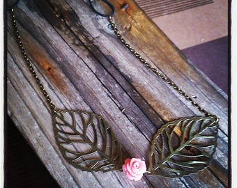 HeadBand nature headband filigree bronze leaves and pink flower cabochon