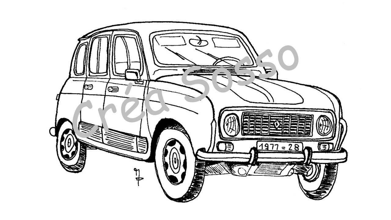 Porte-clès Dessin Voiture Ancienne Renault 4L