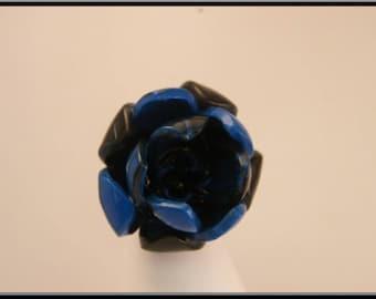 Blue Fimo flower ring.