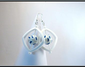 Blue and white polymer clay bead earrings.