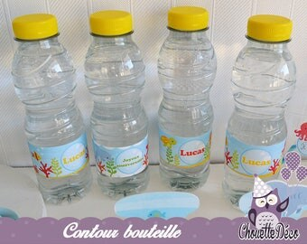 Contour bottle customizable 4 x - the world under the sea - boy birthday