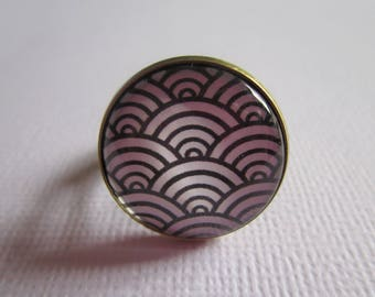 """Ring """"Japanese waves"""", bronze cabochon, costume jewelry"""