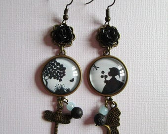"""Earrings """"Spring girl"""", bronze cabochon, costume jewelry"""