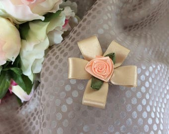 Flower 5 cm beige Satin with pink satin