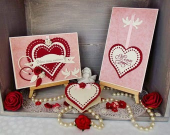 "Pack ""Hanging hearts and doves"" wedding ivory-pink-Burgundy, handmade"