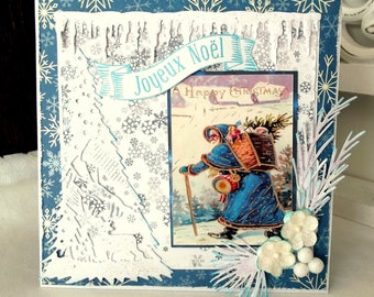 Christmas card, card greetings, Santa Claus, shabby, 3D, handmade jewelry-CN132