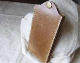 Leather phone case hand stitched gold