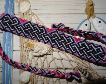 "Friendship Bracelet ""Celtic overlaps"" purple pink"