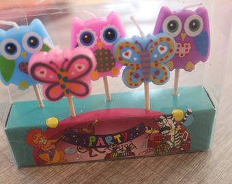 3 owls and BUTTERFLIES candles for birthday cake CANDLES