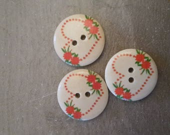 Hearts X 3 knitting sewing buttons