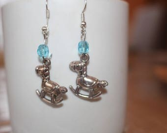 Beads and metal rocking horse EARRINGS