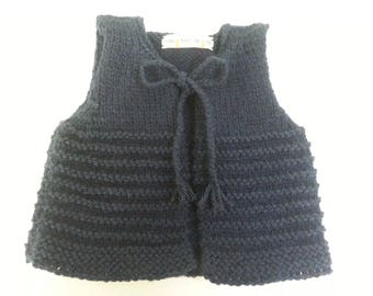 Navy Blue Shepherd's vest from birth to 3 months