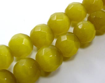 Set of 4 10 mm yellow faceted cat's eye glass beads