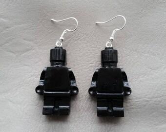 Black plastic ears toy snowman earrings