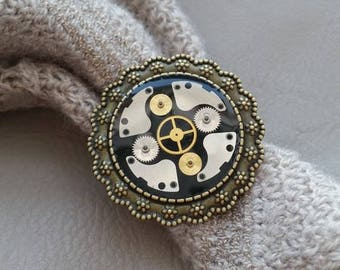 Ring round Bronze 3.5 cm in resin and gears