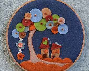 Landscape felt in an embroidery hoop