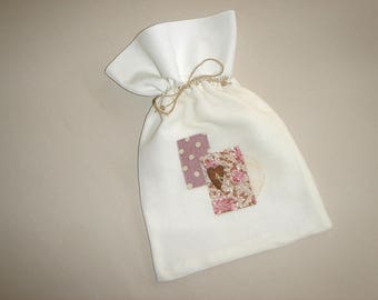 Bag pouch linen voile and vintage sheet