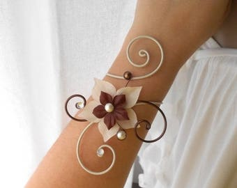 """wedding and witness """"SEVILLE"""" in ivory & chocolate bracelet"""
