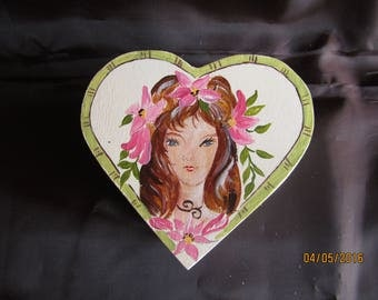 heart shaped wooden box painted with acrylic
