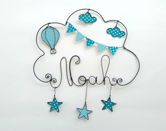 """Name wire customizable """"around the world balloon with stars"""" decoration for child's room wall cloud"""