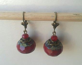 Burgundy Czech glass Pearl Earrings