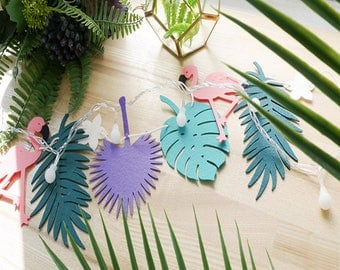 Palm tree and tropical Flamingo party or decoration Garland
