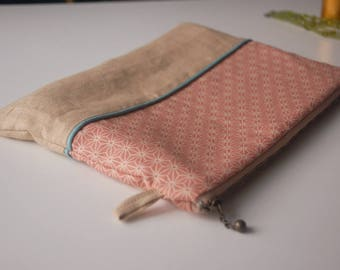 """Case color dark pink and beige patterned geometric """"asanoha"""""""