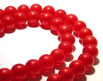 50 beads - 10 mm - lacquered glass powder red-gold glitter - k29s glass bead
