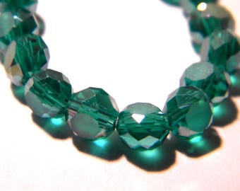 25 beads 6 x 3-glass electroplate frosted faceted effect - abacus - iridescent emerald green frosted plated color - F205-5