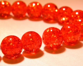 10 beads 12mm translucent crackled glass - orange-PE262-2