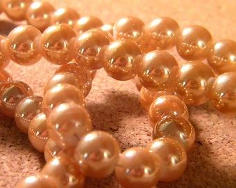 10 pearls 8 mm brass plated - imitation jade-orange honey PE200-4
