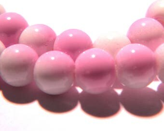 60 beads-6 mm - 2 tones-light lilac and white-light glass - G55-8