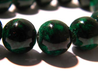 17 glass beads 12 mm - marbled glass reality - glass bead - glass - green-G116