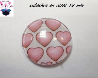 1 cabochon clear 18 mm heart theme