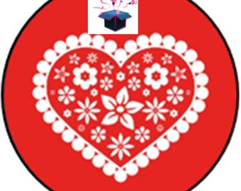 1 cabochon clear 20mm red heart theme