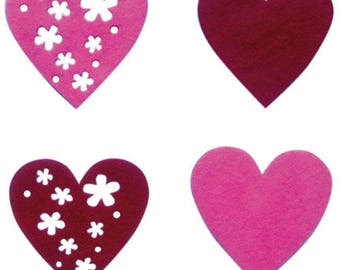 Set patterns of adhesive felt (heart)