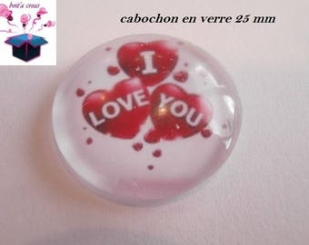 1 cabochon clear 25 mm circle theme I love you