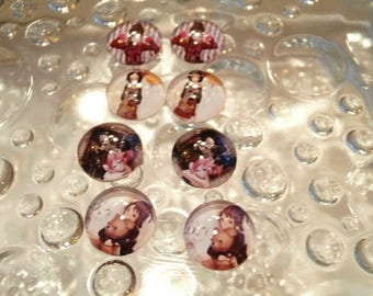 matching 8 glass cabochons 12 mm for loop