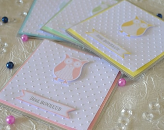 """10 birth announcement or christening """"OWL"""": blue, green, yellow or pink"""